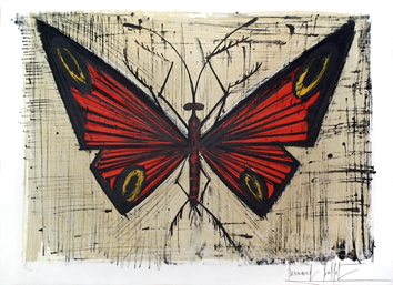 Original signed lithograph de  : The red and yellow butterfly