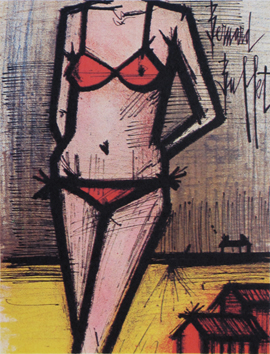 Original lithograph de  : In the beach