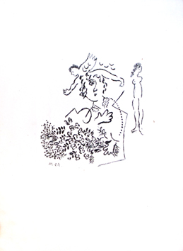 Original etching de  : Essay for a Christmas card of Aimé Maeght