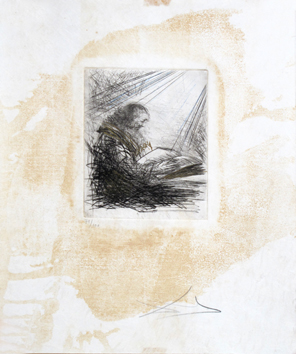 Original signed drypoint de  : Reading Faust