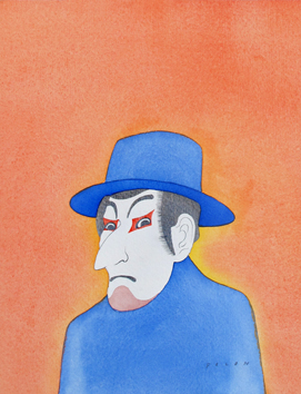Original signed watercolour de Folon Jean Michel : Kabuki