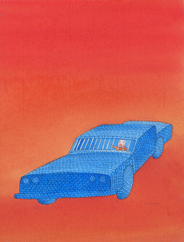 Original signed watercolour de  : Car