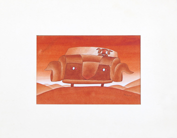 Original signed watercolour de  : On the road