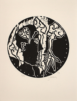 Original signed woodcut de  : Comme un double