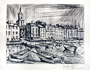Original signed drypoint de Buffet Bernard : St Tropez, The port