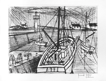 Original signed etching de  : Chalutier au port
