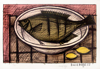 Original signed lithograph de Buffet Bernard : Fish on a dish