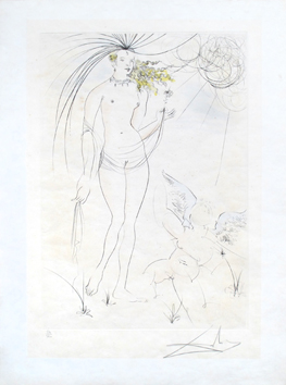 Original signed drypoint de  : Venus and love