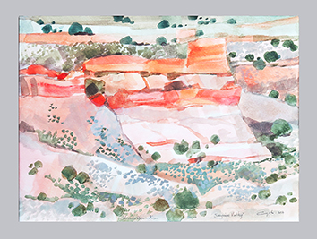 Signierte Original-Aquarell de Cayol Pierre : Surprise Valley V