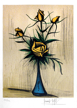 Original signed lithograph de  : Rose in blue vase