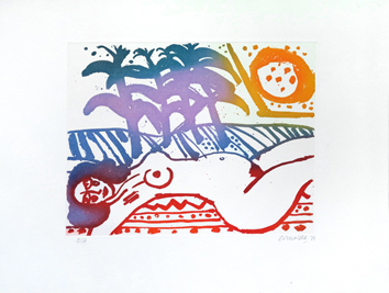Original signed etching de  : Tropical party, variant