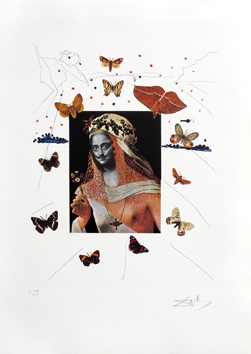 Grabado original firmado de  : Surrealistic portrait of Dali