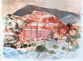 Signierte Original-Aquarell de Cayol Pierre : Surprise Valley VI