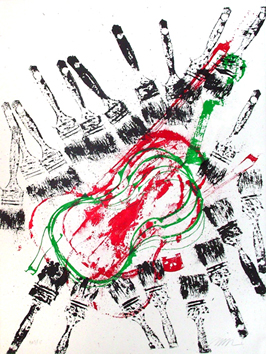 Original signed screenprint de Arman : Violin and brushes