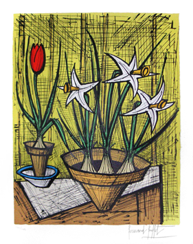 Original signed lithograph de  : Narcisses et tulipe