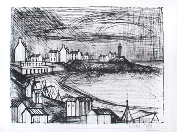 Original signed etching de  : Lighthouse of Rotheneuf