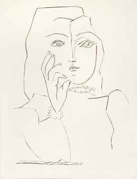 Original etching drypoint de Picasso Pablo : Woman in bust, a hand on her face