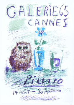Original lithograph poster de Picasso Pablo : Owl, glass and flower
