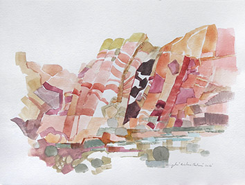 Original signed watercolour de  : Rainbow plateau