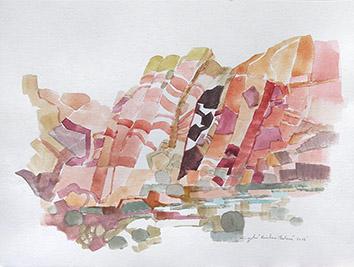 Aquarelle originale signée de  : Rainbow plateau