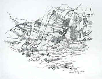Signed drawing in pencil de Cayol Pierre : Surprise Valley VII