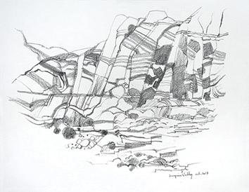 Signierte Bleistift-Zeichnung de  : Surprise Valley VII
