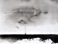 Signed drawing in ink de Allirand Renaud : Paysage maritime