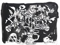 Signierte Tinte-Zeichnung de  : Kermesse aux étoiles