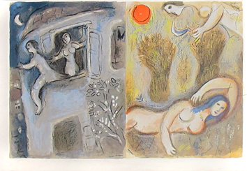 Lithographies originales de Chagall Marc : David sauvé par Michal et . . .