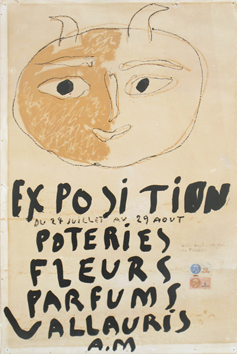 Original lithograph de Picasso Pablo : Exhibition Poteries Fleurs Parfums Vallauris