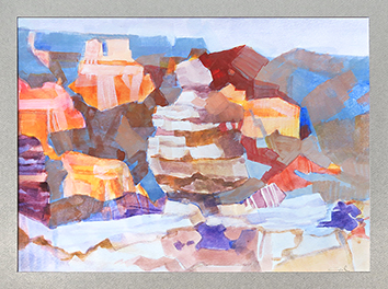Original signed watercolour de  : Grand Canyon Rive sud