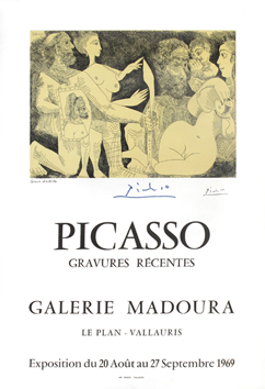 Signed poster de  : Picasso, Recent etchings