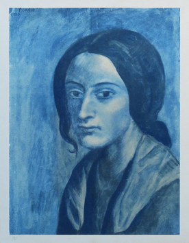 Estampe Pochoir print de Picasso Pablo : Woman with a wick