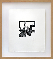 Original signed woodcut de Chillida Eduardo : Mas Allá (Further on), Plate IX