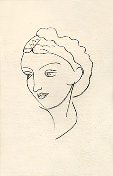 Original lithograph de Matisse Henri : Woman portrait VII - Repli