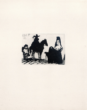Original aquatint de  : Rider and his servant, Célestine and Maja