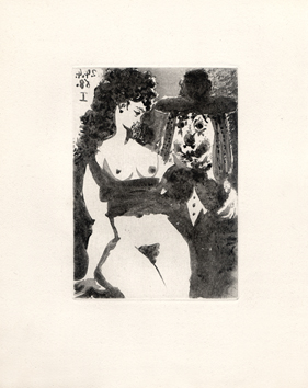 Original aquatint de  : Old clown with a charming woman