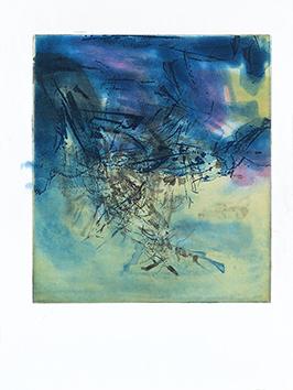 Gravure originale de  : L'étang, planche II