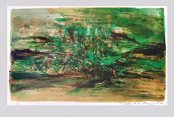 Original signed lithograph de  : Composition in green