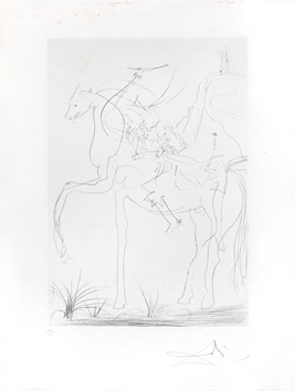 Signed etching drypoint de  : Couple ridding horse