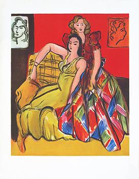 Estampe de reproduction de  : Deux jeunes filles, robe rose, robe écossaise