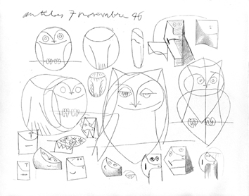 Jacomet process print de Picasso Pablo : My drawings of Antibes XII, Study of owl