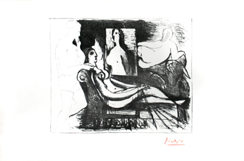 Original signed lithograph de Picasso Pablo : The painter and his model