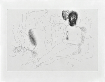 Original etching de  : Seated nude and sketches I