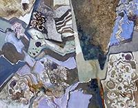 Acrylique sur papier signée de  : Paroi calcaire