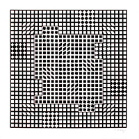 Original signed screenprint de Vasarely Victor : Kinetic album black and white III