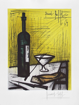 Signed lithograph de  : The bread, the wine II