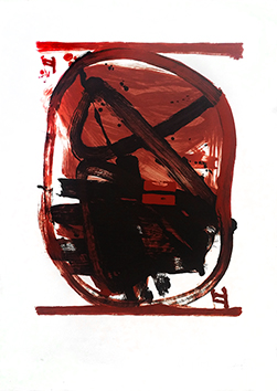 Original signed lithograph de  : Ovale rouge, noir