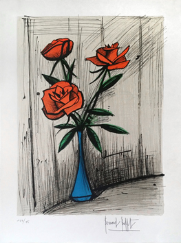 Original signed lithograph de Buffet Bernard : Three roses in a vase