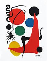 Signierte Lithographie de  : Soleil rouge